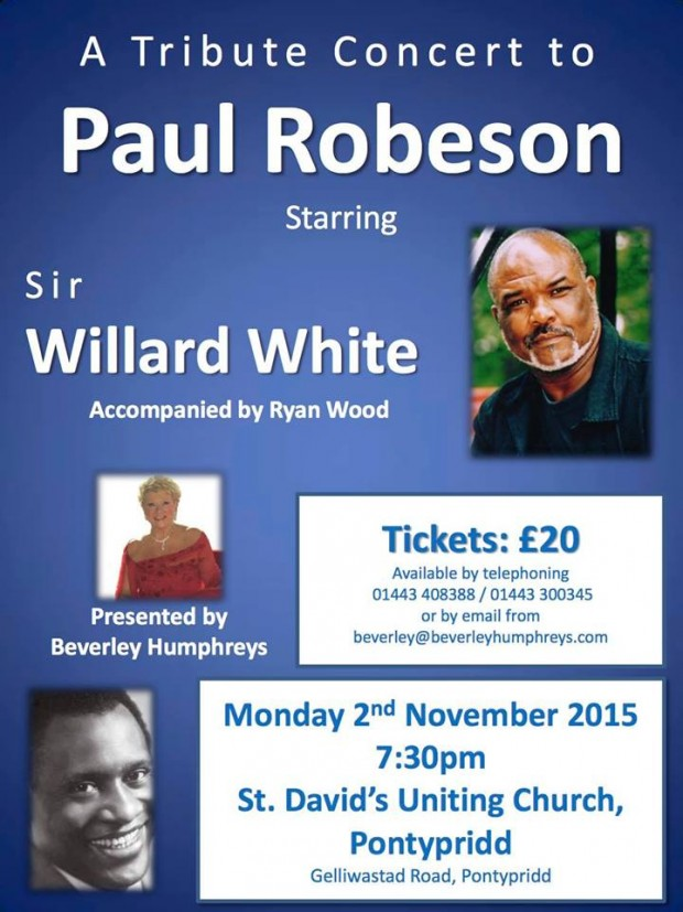Sir Willard White in concert at St. David's, Monday 3rd November