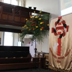 St. David's Uniting Church, view of pulpit with church banner