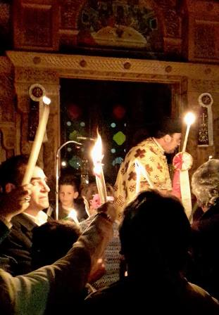 Crete Easter procession with torches